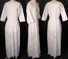 Edwardian White Eyelet Lace Lawn Tea Dress Front view.