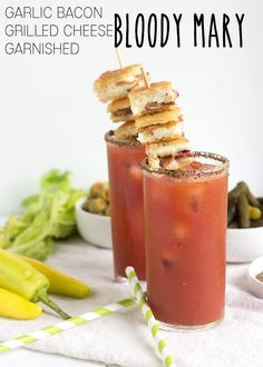 Bloody Mary with Garlic Bacon Grilled Cheese Garnish - http://www.sofabfood.com/bloody-mary-with-garlic-bacon-grilled-cheese-garnish/  Serve a cocktail with the appetizer included for game day when you make this Garlic Bacon Grilled Cheese Garnished Bloody Mary. The appetizer garnish pairs perfectly with the taste of the Bloody Mary. The following content is intended for readers who are 21 or older. #HomegateHacks  Serving up g...
