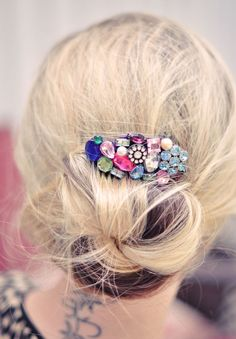 Any messy bun will benefit from a jeweled hair comb. | 31 Pretty Hair Accessories You Can Actually Make