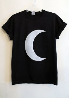 black crescent moon shirt by wildblacksheep on Etsy, $18.00