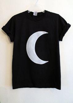 black crescent moon shirt by wildblacksheep on Etsy, $18.00