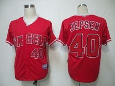 Angels of Anaheim #40 Kevin Jepsen Red Cool Base Stitched Baseball Jersey
