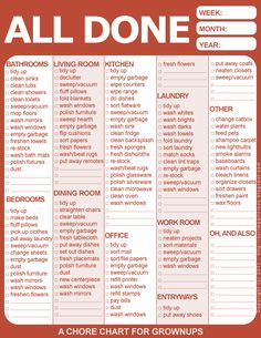 Free printable chore chart; nice reminders.