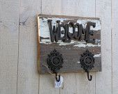 Vintage White Barnwood Towel, Coat, Purse Rack with Rustic Metal Welcome sign with Hooks
