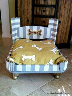Dog Bed from an End Table - Gray and White | Lucy Designs