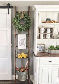 One Simple Trick for Kitchen Decor Ideas Apartment Small Spaces Unveiled - a., One Simple Trick for Kitchen Decor Ideas Apartment Small Spaces Unveiled - a. Country Farmhouse Decor, Farmhouse Kitchen Decor, Kitchen Redo, Wall Decor For Kitchen, Vintage Farmhouse, Farmhouse Ideas, Small Wall Decor, Kitchen Storage, Modern Farmhouse