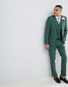 ASOS DESIGN Wedding Slim Suit In Pine Green