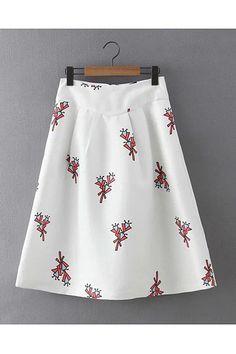 White Floral Print Midi A-line Skirt -YOINS