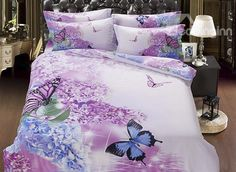 Artistic Romantic Flower Butterflies Printing 5-Piece Cotton Comforter Sets, buy at there: www.beddinginn.com click more: www.beddinginn.com
