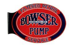 Original Bowser Gas Pumps Porcelain Flange Sign