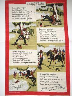 "Vintage Australian Linen Tea Towel. ""Waltzing Matilda"". Circa 1970s. Vintage Aussie tea towel. Matilda, Billabong, Tea Towels, Comic Books, Vintage, Dish Towels, Cartoons, Vintage Comics, Comics"