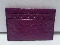 FREE SHIP - NEW ! COACH Patent Leather Embossed Liquid Gloss Card Case BERRY F62544