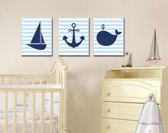 Nautical Nursery Art Print, Baby Boy Nautical Wall Art, Boys Bedroom Decor, Whale, Sailboat, Anchor-N1191,1192,1193-Custom Colour - Unframed