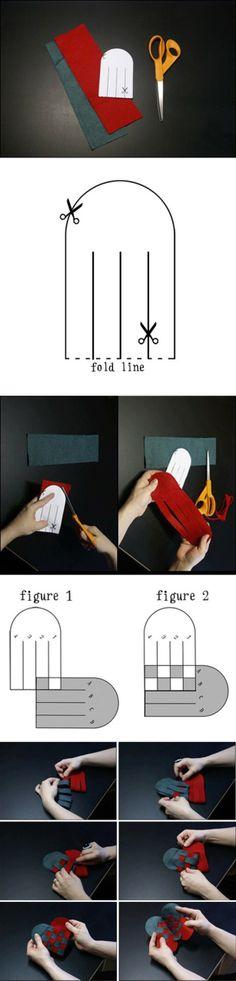 Dit kan je maken van stof of papier. Zie foto's