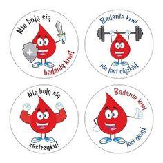 Nie boję się badania krwi! Badanie krwi nie jest ciężkie! Nie boję się zastrzyku! Badanie krwi jest ok! Zestaw naklejek z kropelką krwi dla dzielnych pacjentów
