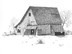 Pen And Ink Drawings - Old Barn by Donald Curry