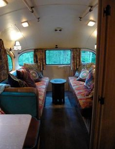 Vintage Chevy short bus restored into an awesome RV. So cool!