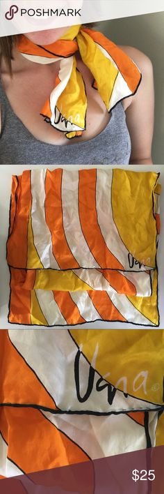 """Vintage real Vera silk scarf! Collector item! Vera Neumann began designing textiles in 1947 and since then her scarves have become a cult classic and true collector piece for your wardrobe! This scarf is in excellent condition with no stains or flaws. Based on the logo, this silk is from the early to mid 1970s. Measures 45"""" x 14.5"""". Please let me know if you'd like more photos, have questions, or feel free to submit an offer! Thanks! Vera Accessories Scarves & Wraps"""