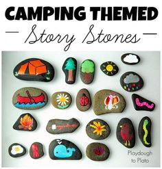 Camping Themed Story Stones I love these! A fun and memorable way to tell a story! Great for summer camp! The post Camping Themed Story Stones appeared first on Summer Diy. Crafts To Do, Kids Crafts, Craft Projects, Arts And Crafts, Summer Crafts, Beach Crafts, Summer Diy, School Projects, School Ideas