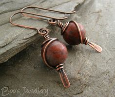 Antiqued copper earrings with red flower marble beads by BooJewels