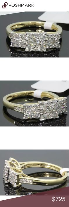 1.10 carat 10k yellow gold diamond cluster ring 1.10 carat 10k yellow gold diamond cluster ring! H-I color/SI1 clarity diamonds! Lower on pal! Jewelry Rings