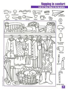 Printable Coloring Pages, Coloring Pages For Kids, Hidden Pictures Printables, Clothes Worksheet, Hidden Picture Puzzles, Hidden Objects, Activity Sheets, Worksheets For Kids, Kids Learning