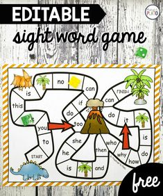 Awesome Dinosaur Sight Word Game for a Kindergarten or First Grade literacy center. This editable game is perfect for summer or back to school games. Kids Sight Words, Teaching Sight Words, Sight Words List, Sight Word Practice, Sight Word Games, Sight Word Activities, Phonics Activities, Kindergarten Literacy, Literacy Centers
