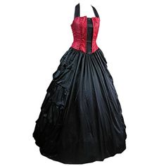 AvaLolita Womens Sexy Backless Halter Gothic Victorian Dress Lace Up, XL, Red Black Gothic Victorian Dresses, Black Gothic Dress, Gothic Lolita Dress, Goth Dress, Victorian Costume, Black Ruffle Dress, Lace Dress, Cocktail Dresses Australia, Goth Wedding Dresses