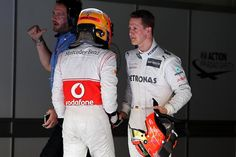 Pole sitter Lewis Hamilton (GBR) McLaren and Michael Schumacher (GER) Mercedes AMG F1 in parc ferme.  Formula One World Championship, Rd2, Malaysian Grand Prix, Qualifying, Sepang, Malaysia, Saturday, 24 March 2012