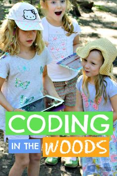 Kids coding in the woods ... kids can actually learn to code outside exploring in the woods