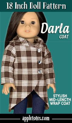 Sew your own adorable wrap coat for 18 inch dolls like American Girl, Our Generation and similar dolls with the premium sewing pattern designed by Appletotes & Co. Printable PDF pattern comes with easy to follow, step-by-step instructions and color pictures with every step to guide you all the way through this fun doll sewing project. Doll Clothes Patterns, Pdf Sewing Patterns, Doll Patterns, Clothing Patterns, American Girl Diy, American Girl Clothes, Color Pictures, Wrap Coat, Doll Dresses