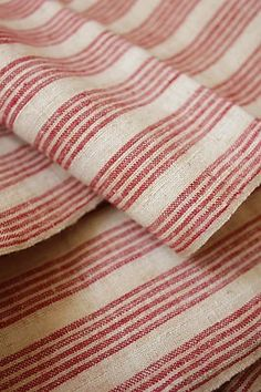 Antique French Ticking fabric ~ ideal weight for upholstery ~ from The Textile Trunk ~ http://www.textiletrunk.com