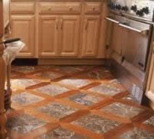 Tile and hardwood grid pattern Too hard to do? Sooo cool.  Do kitchen like this to integrate the hardwood with the tile.