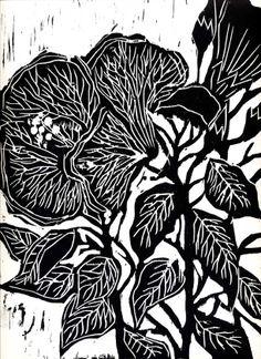 """""""Hibiscus"""" -gravure sur Bois- woodcut- Valérie Belmokhtar ."""