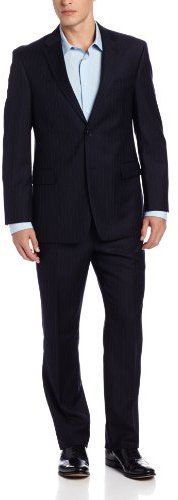 $224, Navy Vertical Striped Suit: Tommy Hilfiger Trim Fit 2 Button Side Vent Notch Lapel Nathan Suit. Sold by Amazon.com. Click for more info: https://lookastic.com/men/shop_items/60191/redirect