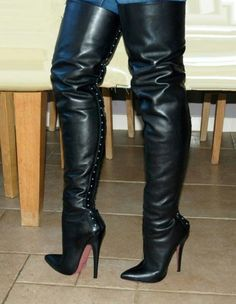 extreme Boots and Heels Thigh Length Boots, Thigh High Boots Heels, Stiletto Boots, Heeled Boots, High Heels, Beige Boots, High Leather Boots, Crotch Boots, Boots And Leggings