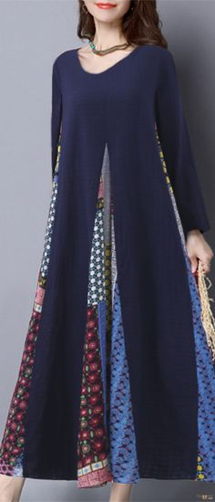 O-NEWE Vintage Women Printed Stitching Long Sleeve Dress. Vintage Style, Loose Style, Long Sleeve, O-Neck, Color:Navy,Red. Size:S,M,L,XL,XXL,XXXL,XXXXL,5XL. Buy now! #women #dresses #vintage