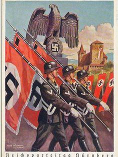 Nurnberg. SS men Marching. A German Postcard