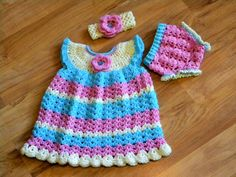 Hand-Crocheted Baby Girl Dress with Matching by ALCrochetLady