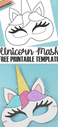 Unicorn Face Masks with FREE Printable Templates is part of Crafts for kids - Check out this post for FREE printable Unicorn Face Mask templates! Comes with two cutout templates AND coloring sheets for kids of all ages! Diy Unicorn, Unicorn Mask, Unicorn Crafts, Printable Crafts, Free Printables, Printable Templates, Printable Party, Templates Free, Birthday Crafts