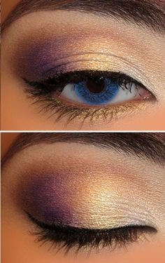 purple and gold eye shadow - so easy. nice way to mix it up, AND with my purple mascara :)