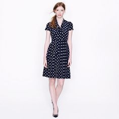 Polka-dot tie-neck dress, J Crew