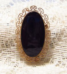 Vintage Black Glass Brooch Gold Filled by ViksVintageJewelry, $14.99