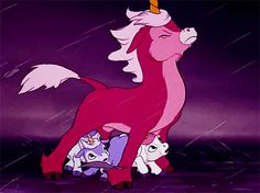 So cute the way she's protecting her little ones from the storm how precious. ^w^ #cute #unicorns #fantasia #kawaii #Babyunicorn #thelastunicorn