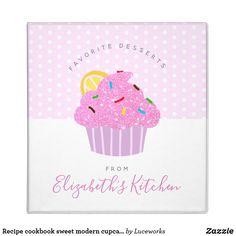 Recipe cookbook sweet modern cupcake, dots on pink 3 ring binder