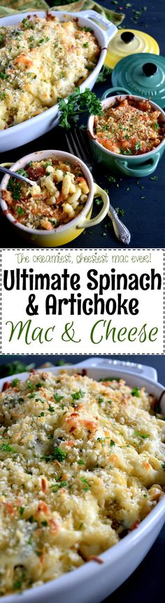 Ultimate Spinach and Artichoke Mac and Cheese - When I say 'ultimate,' I really mean it!  Regular mac and cheese can't compare to this Ultimate Spinach and Artichoke Mac and Cheese!  The cheesiest, creamiest mac and cheese ever!