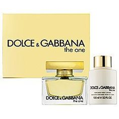 Dolce & Gabbana The One Gift Set by THE ONE. $82.68. The One by D Set EDP SPRAY 2.5 OZ + BODY LOTION 3.3 OZ.+ EDP FRAGRANCE PEN .2 OZ. IN GIFT BOX. EDP SPRAY 2.5 OZ + BODY LOTION 3.3 OZ.+ EDP FRAGRANCE PEN .2 OZ. IN GIFT BOX
