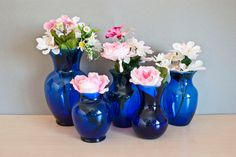 Instant Collection 5 Cobalt Blue Vases for by TheWildWorld on Etsy, $35.99