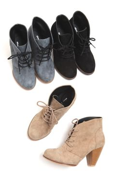I really want a pair in every color here.  Leather Lace Up Booties