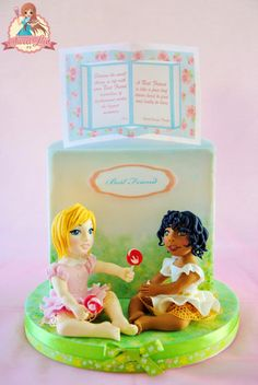 We share everything and Wafer Paper Pop up - Best Friend's Day Cake Collaboration - Cake by SweetLin